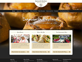 Web design - Samworth Brothers corporate website