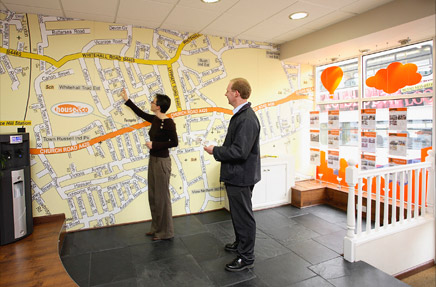 Digital Wallpaper map of local area for House and Co Estate Agents