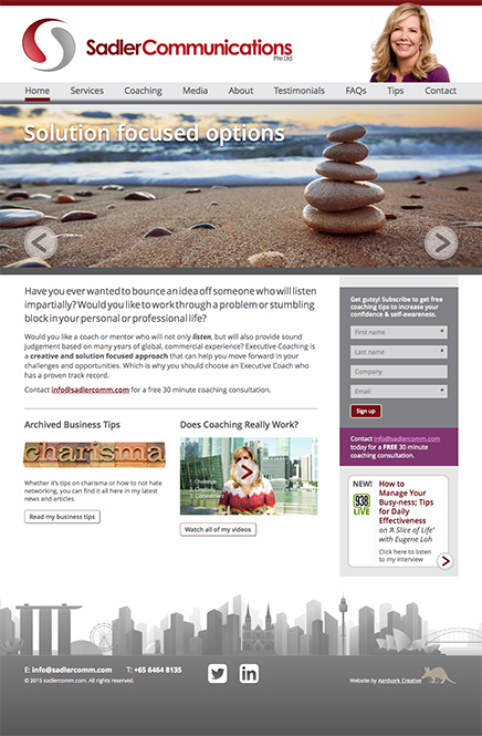 Responsive and retina-optimised website for Sadler Communications Pte Ltd, Singapore