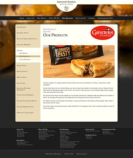 Website and Content Management System for Samworth Brothers