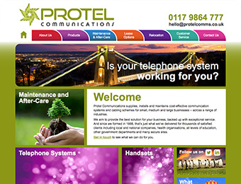 Web design - Protel Communications website